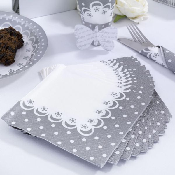 Chic Boutique White & Silver Paper Napkins (20)